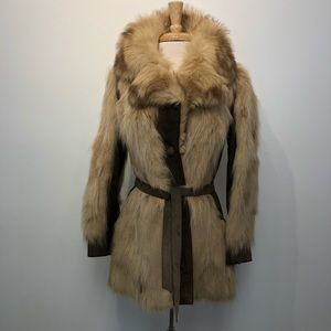Vintage 70s Fur and Suede Coat As Is fully lined